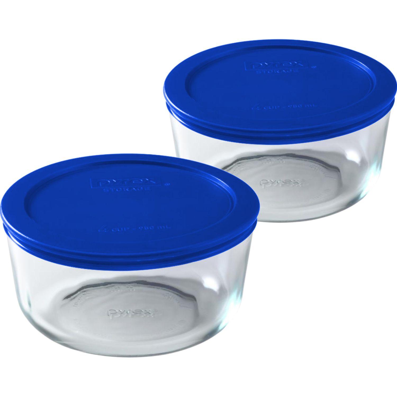 PYREX Pack De 2 Bolos Redondos Tapa Plastica De 4 Tazas - 950 Ml AZULINO Juegos de Almacenamiento y Organización de Cocina