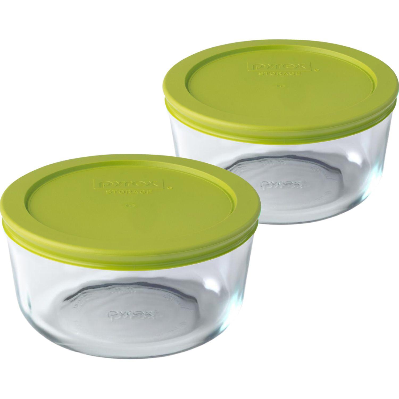 PYREX PACK DE 2 BOLOS REDONDOS TAPA PLASTICA DE 4 TAZAS - 950 ML VERDE Juegos de Almacenamiento y Organización de Cocina