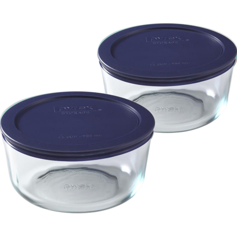 PYREX Pack De 2 Bolos Redondos Tapa Plastica De 4 Tazas - 950 Ml AZUL MARINO Juegos de Almacenamiento y Organización de Cocina